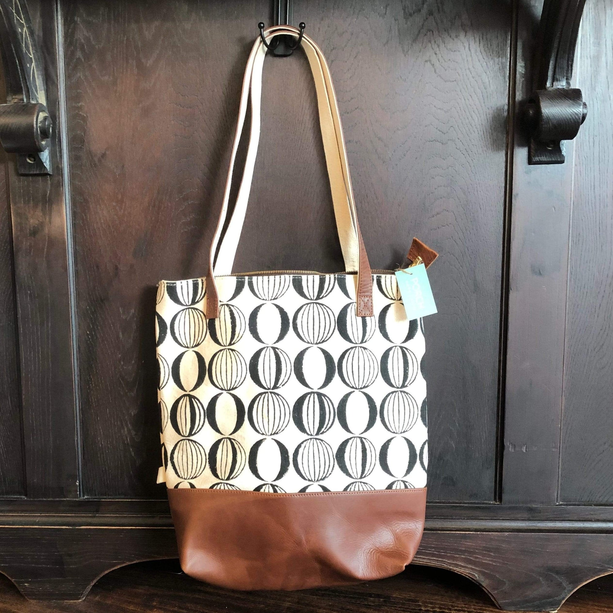 Bindi Brown and White Tote Bag - PORCH