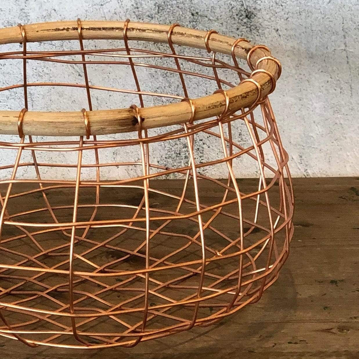 Copper Wire and Cane Round Basket - PORCH