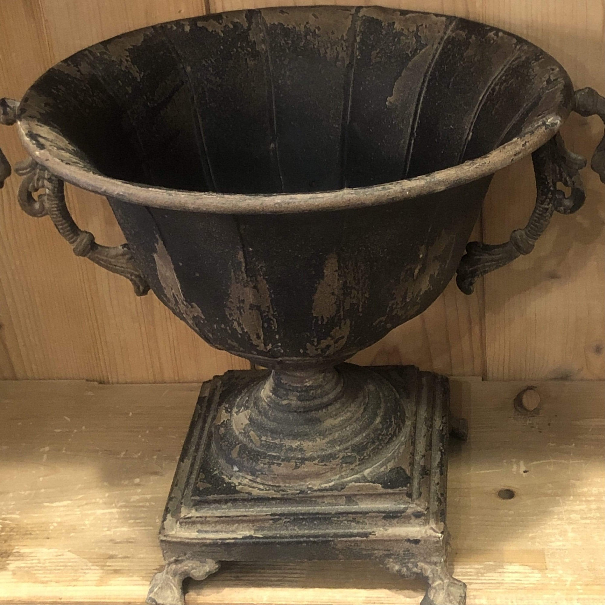 Distressed Black Iron Urn - PORCH