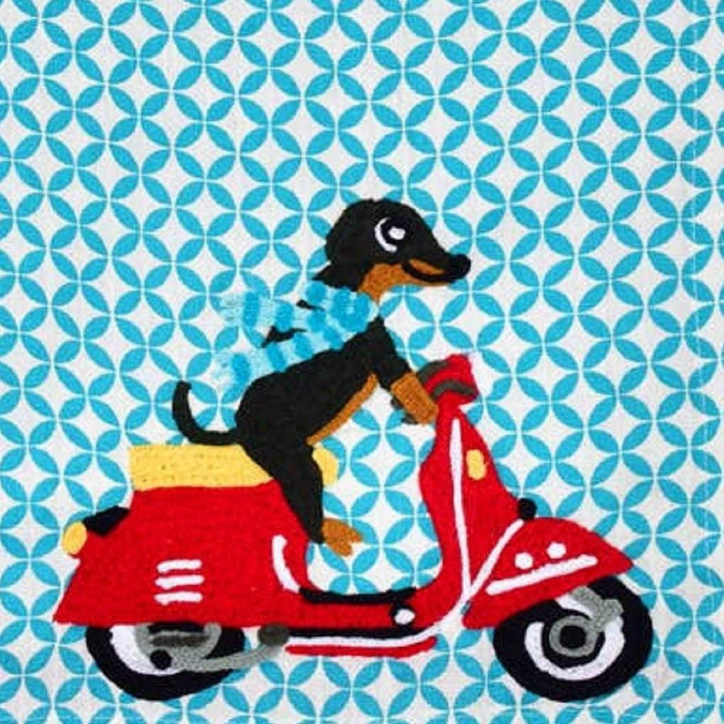 Embroidered Tea Towel - Dog on Scooty - PORCH
