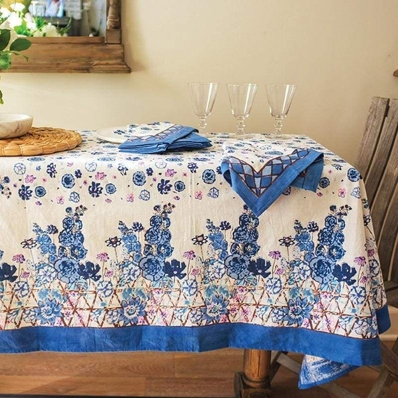 "Fleur Sauvage Blue Tablecloth - 71"" x 128"" - PORCH"