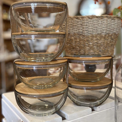 Glass Bowls with Bamboo Lids - Set of 2 - PORCH