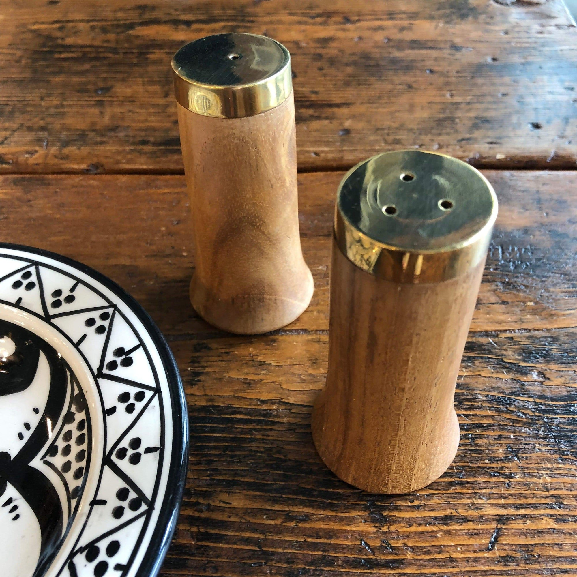 Gold and Wood Salt and Pepper Shakers - Set of 2 - PORCH
