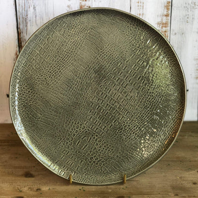 Gray Croc Ceramic Round Platter - PORCH