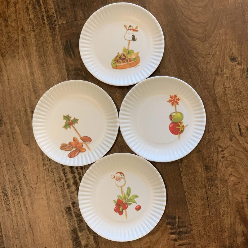 "Holiday Hors D'oeuvres ""Paper"" Plates - Set of 4 - PORCH"