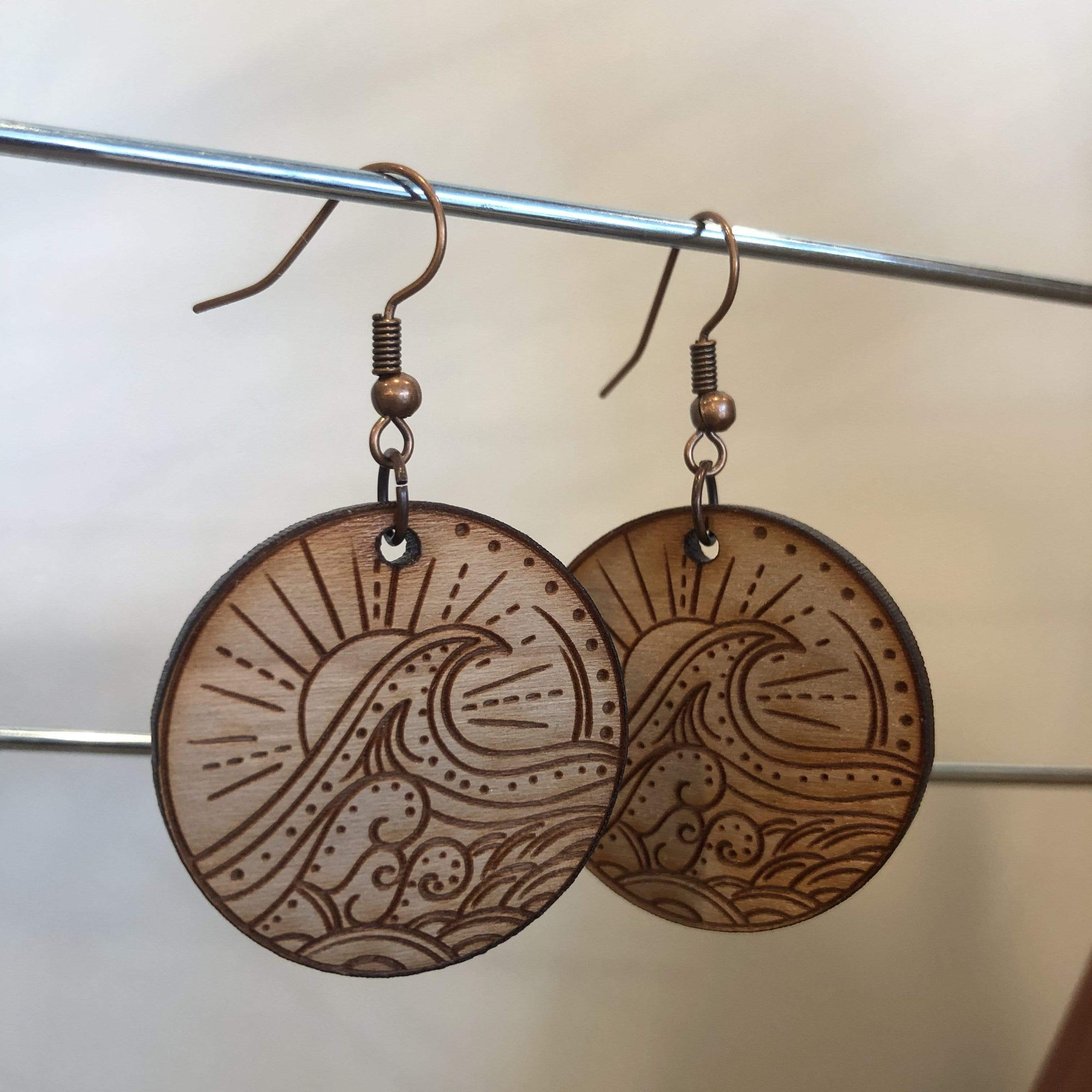 Laser-Cut Wave Wood Earrings - PORCH