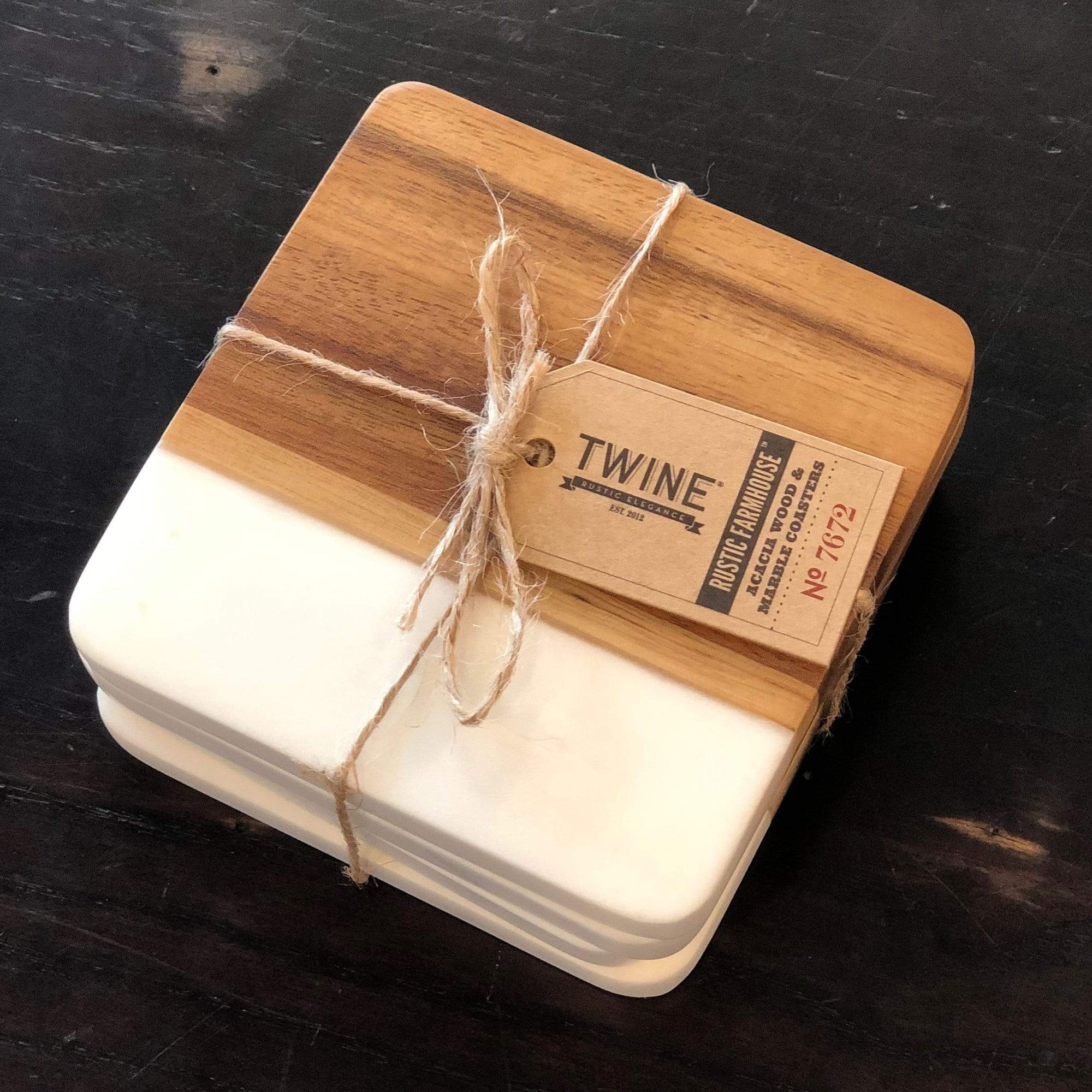 Marble and Acacia Coaster - Set of 4 - PORCH