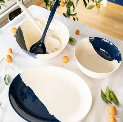 Navy/White Melamine Oval Platter - PORCH