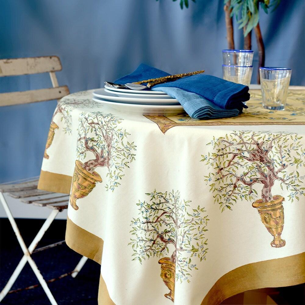 "Olive Tree Khaki with Blue Tablecloth - 71"" x 128"" - PORCH"