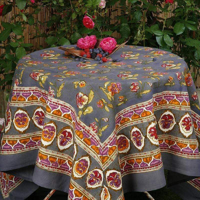 "Pansy Red with Grey Tablecloth - 71"" x 71"" - PORCH"