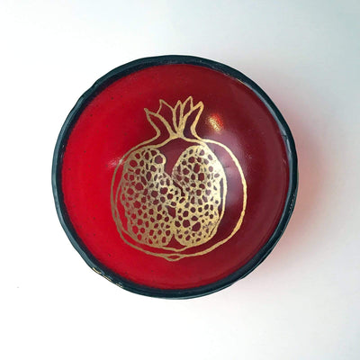 Pomegranate Small Bowl Red Gold - PORCH