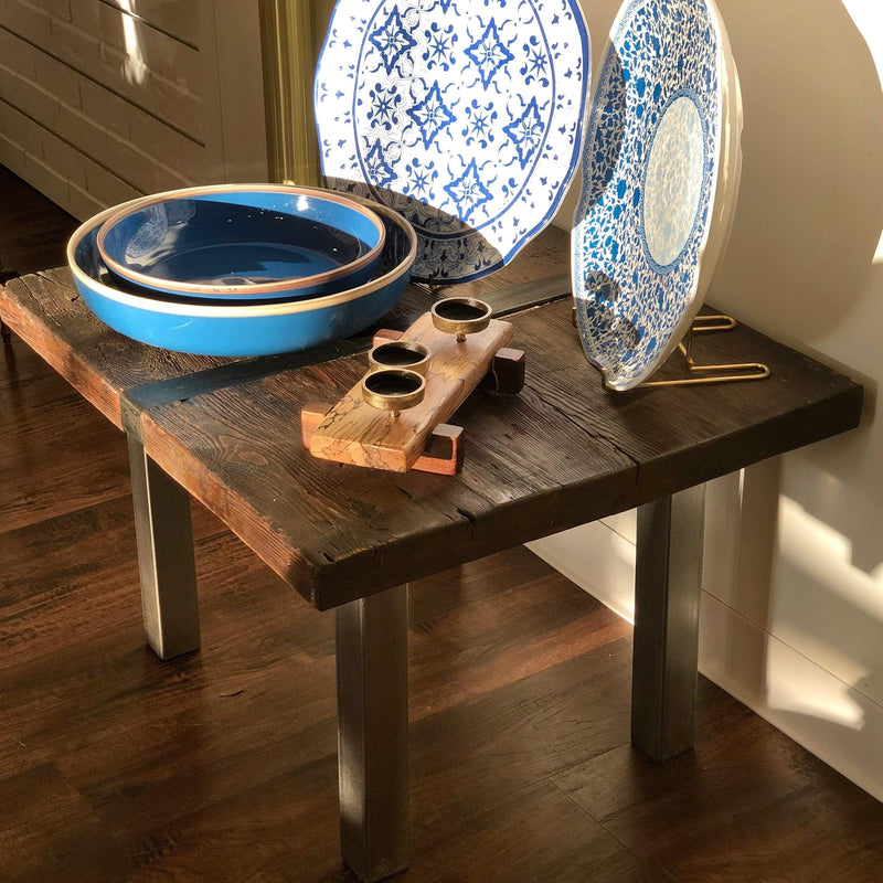 Reclaimed Pine Side Table with Banded Steel by N.E.A.L. - PORCH