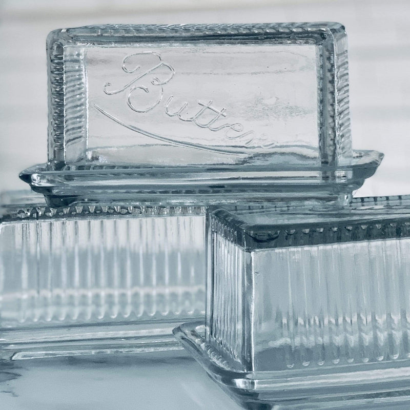 Retro Pressed Glass Butter Dish - PORCH