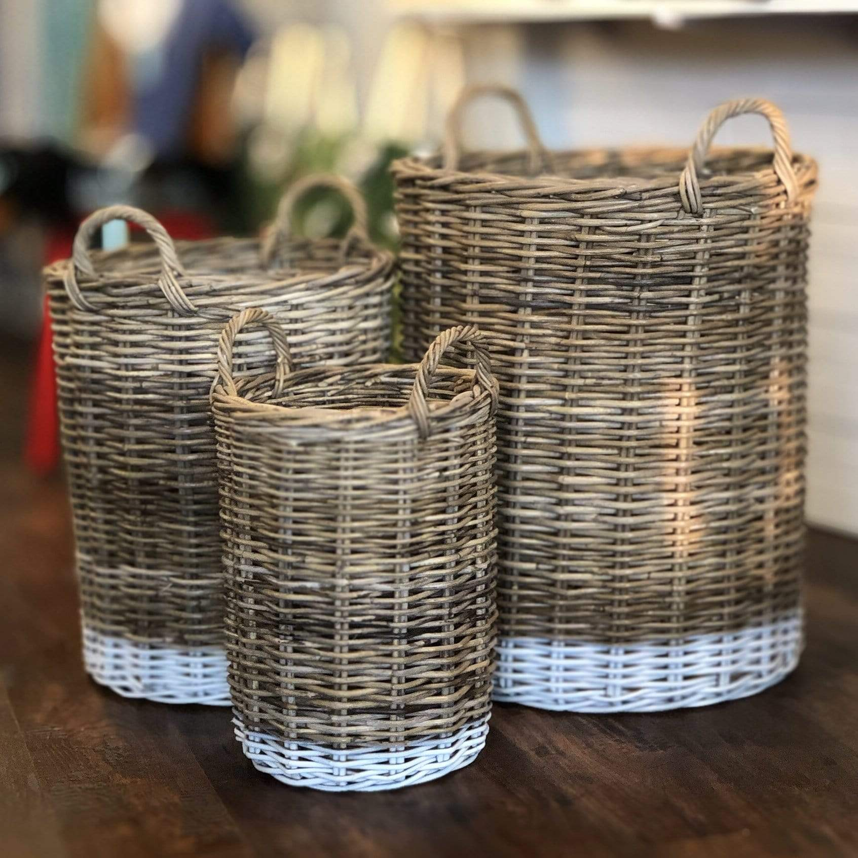 Round Dipped Rattan Basket - PORCH