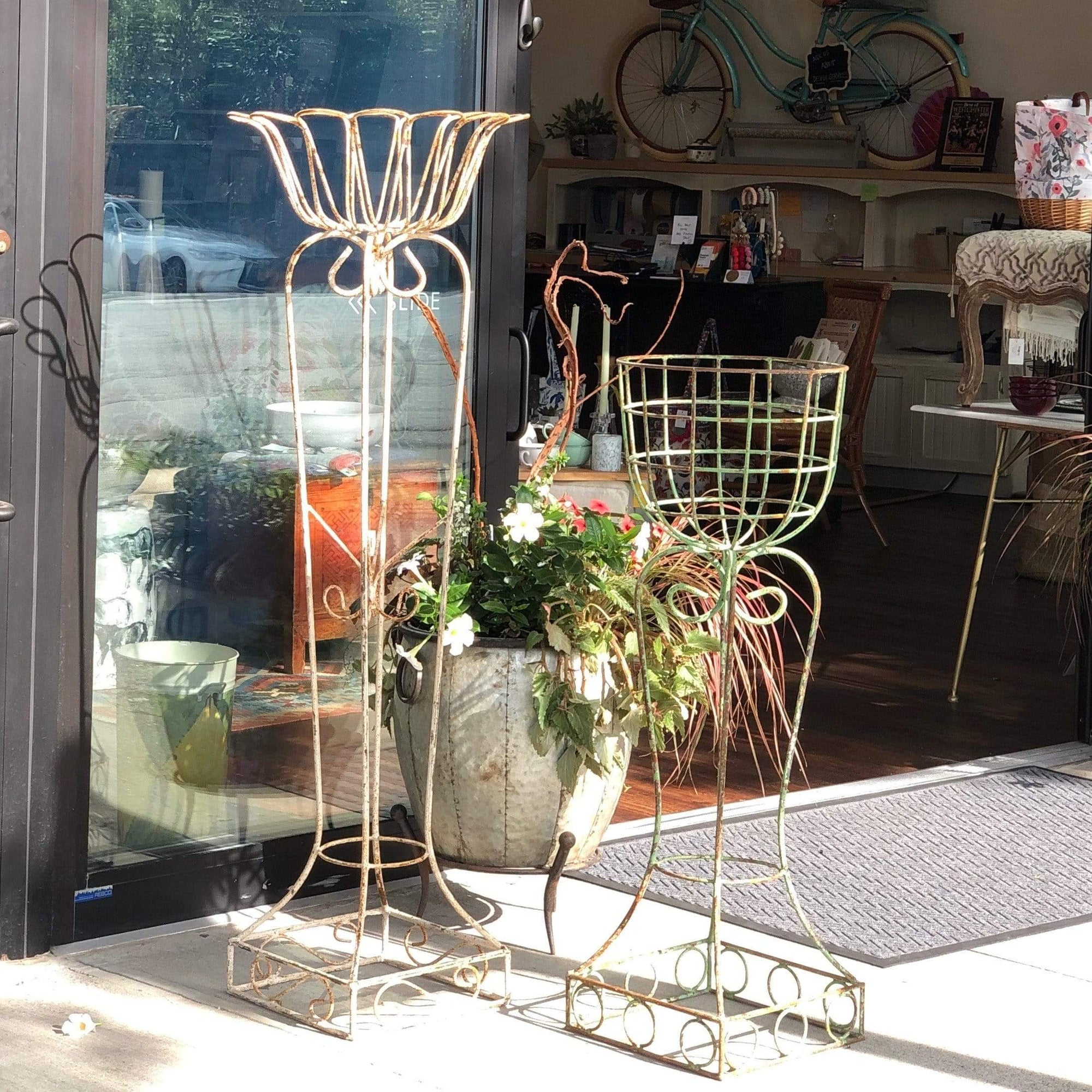 Tall Vintage Iron/Wire Planter - PORCH