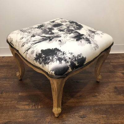 Upholstered Floral Stool with Leather Trim - PORCH
