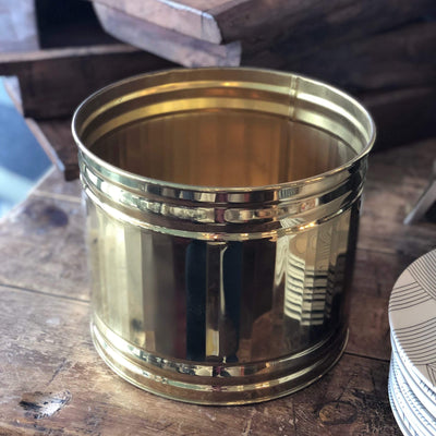 Vintage Lacquered Brass Planter - Large - PORCH