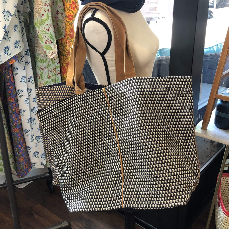Woven Tote with Suede Details - PORCH