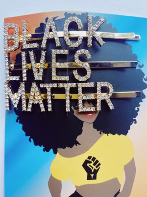 Black Lives Matter Gold or Silver Rhinestones Words Hairpins Hair Clips SET