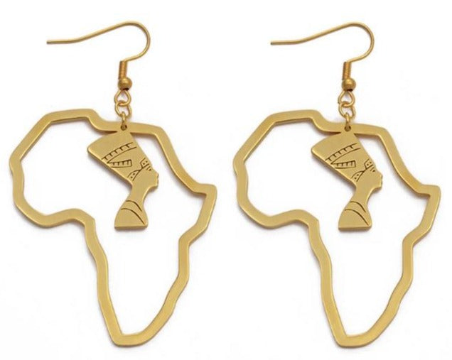 Africa Map Nefertiti Drop Earrings - 3 Woke Girlz