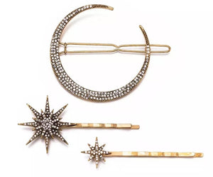 3 pc Celestial Moon and Stars Hairpin Hair Clip Set - 3 Woke Girlz