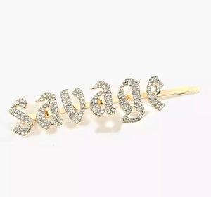 SAVAGE Rhinestone Word Hairpin Hair Clip - 3 Woke Girlz