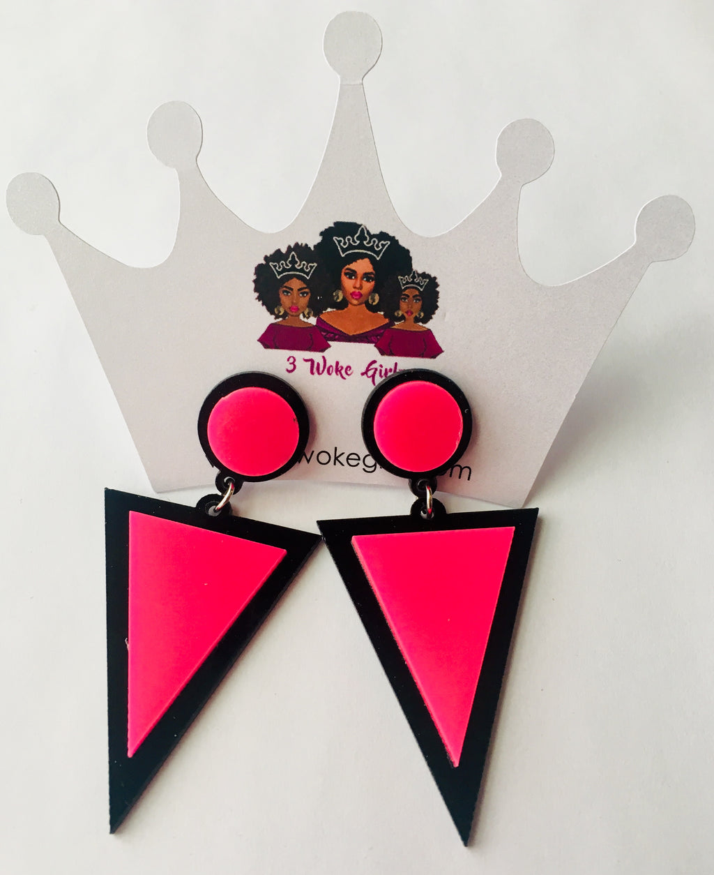 Hot Pink Pop Triangle Earrings - 3 Woke Girlz