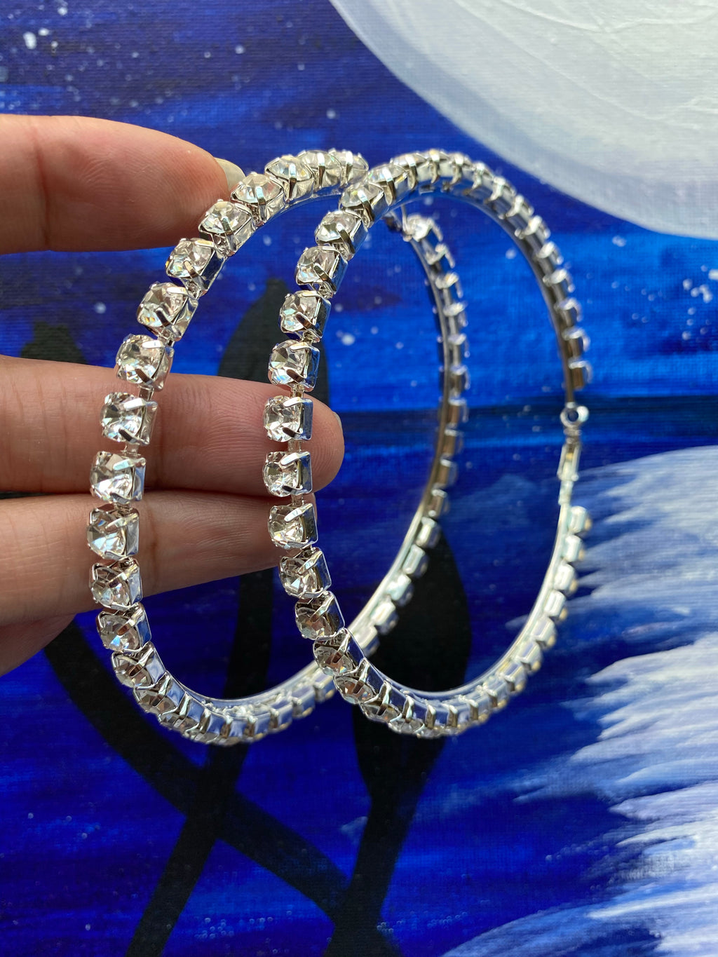 Large Rhinestones Bling Hoop Earrings - 3 Woke Girlz