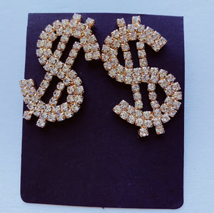Large Dollar Sign Rhinestone Earrings - 3 Woke Girlz