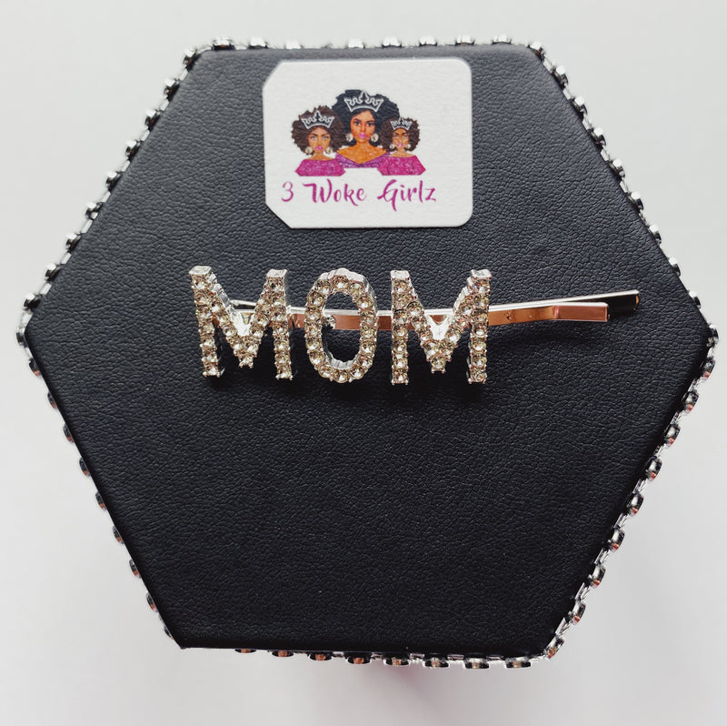 MOM Rhinestone Hairpin Hair Clip - 3 Woke Girlz