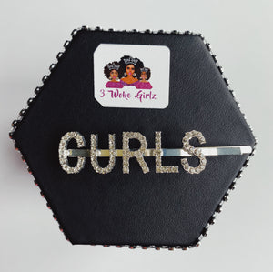 CURLS Rhinestone Statement Word Hairpin Hair Clip - 3 Woke Girlz