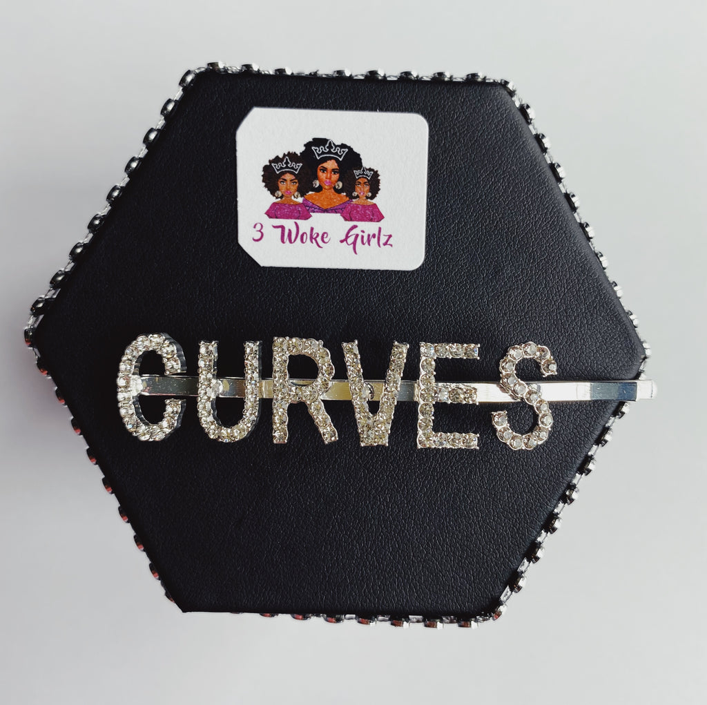 CURVES Rhinestone Statement Word Hairpin Hair Clip - 3 Woke Girlz