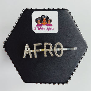 AFRO Rhinestone Statement Words Hairpin Hair Clip - 3 Woke Girlz