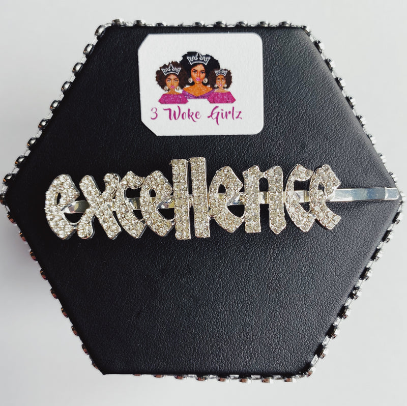 EXCELLENCE Rhinestone Statement Word Hairpin Hair Clip - 3 Woke Girlz
