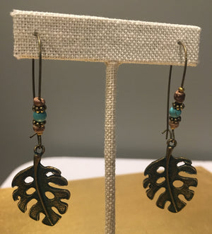 Metal Leaf Bead Earrings - 3 Woke Girlz