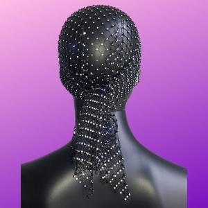 Black Bling Rhinestones Head Scarf Wrap Headpiece - 3 Woke Girlz