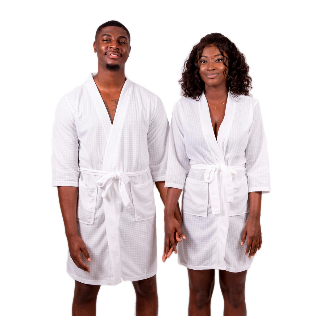 Cotton Waffle-knit Honeymoon Bathrobes Set