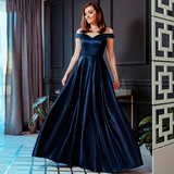Satin Evening Dresses A-Line V-Neck Elegant Formal Long Dresses