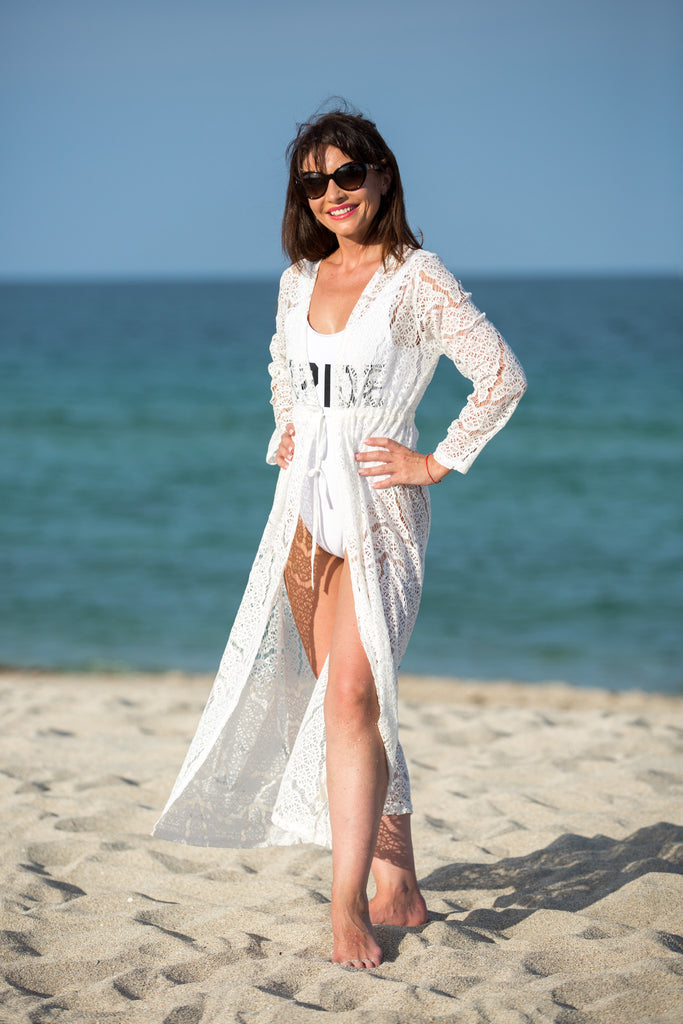 White Bridal Long Crochet Beach Cover Up - Bridesmaid's World