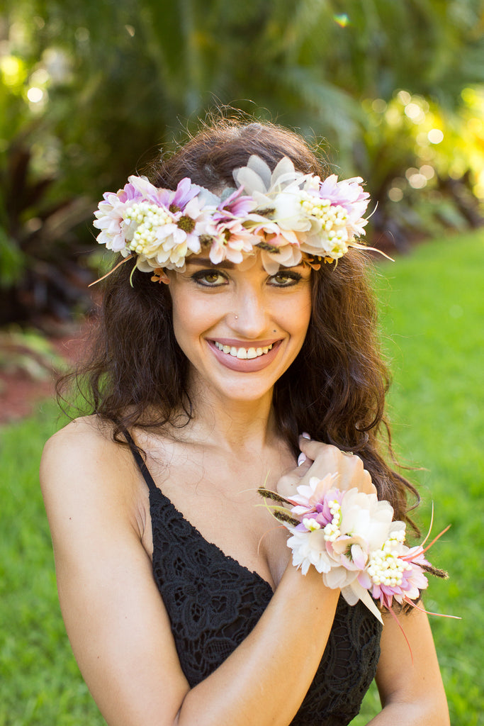 Flower Headband and Hand Band - Bridesmaid's World