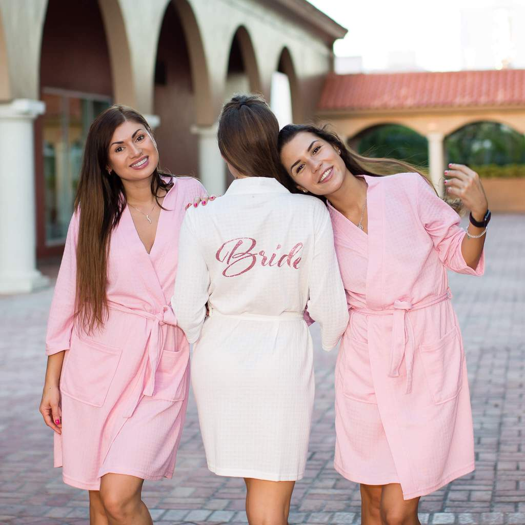 "Sample Sale - Cotton Waffle-Knit Pink Robes ""Maid of Honor"" in Black glitter, Size: S"