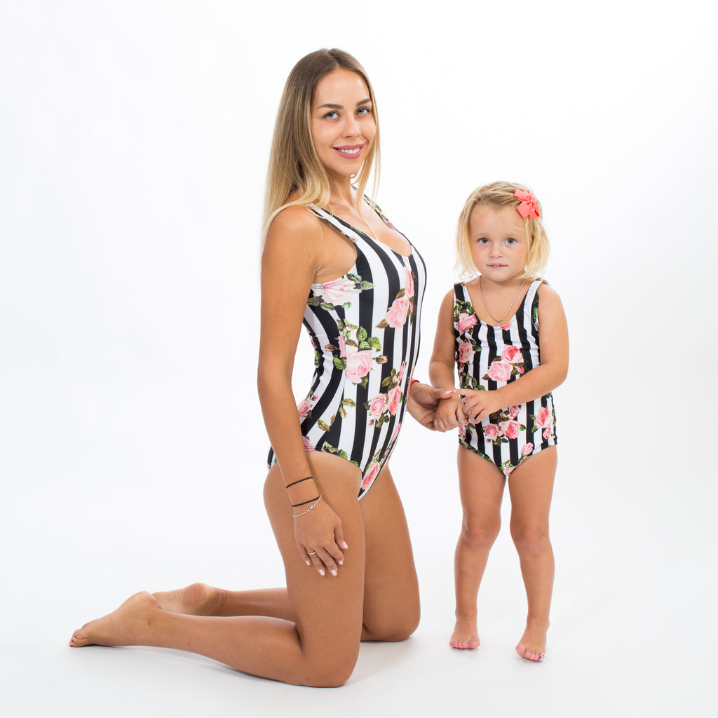 Striped roses matching one piece swimsuits - Bridesmaid's World