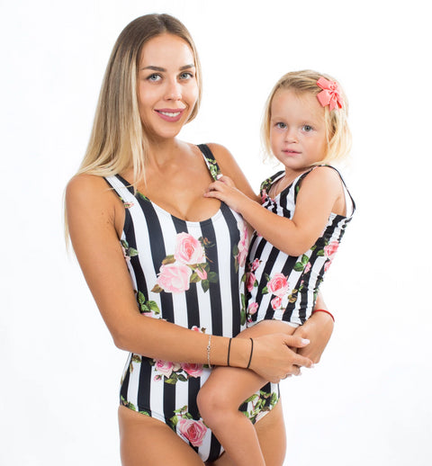 Striped roses matching one piece swimsuits