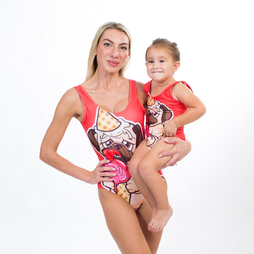 Cute Doggy Mommy And Me One Piece Swimsuits - Bridesmaid's World