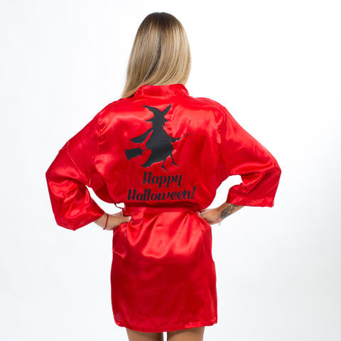 Happy Halloween Red Satin Robes