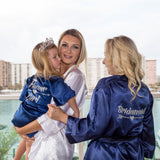 "Sample Sale - Satin Navy Robes ""Junior Bridemaid"" in Gold Glitter, Size: S-M, L-XL"