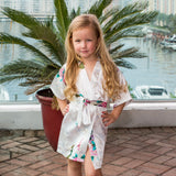 "Sample Sale - Kids Satin White Floral Robes ""Flower Girl"" In Gold Glitter, Size: 2-4T"