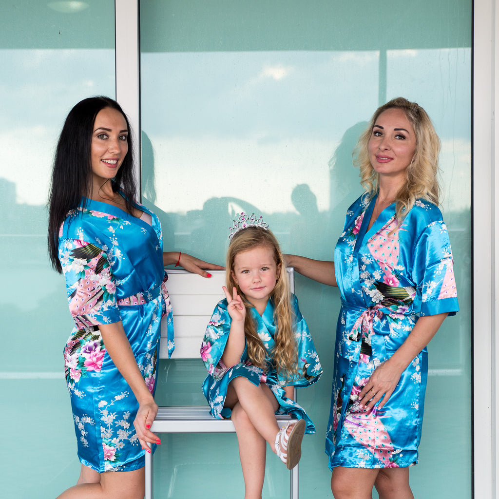 "Sample Sale - Kids Satin Floral Turquoise Robes, ""Flower Girl"" in White Glitter, Size: 8Y"