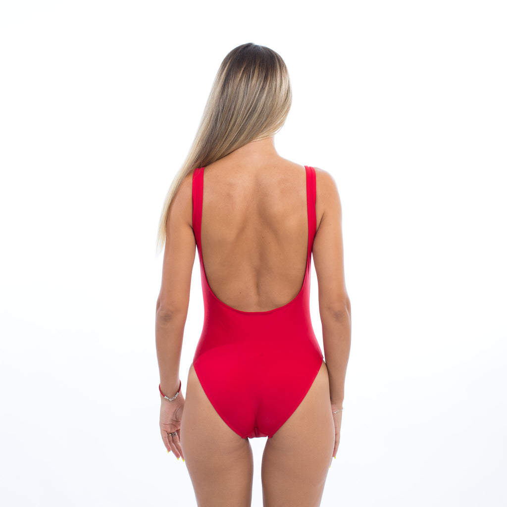 "Sample Sale - Red Swimsuit, ""MIlf Money"", in White Glitter, Size: S"
