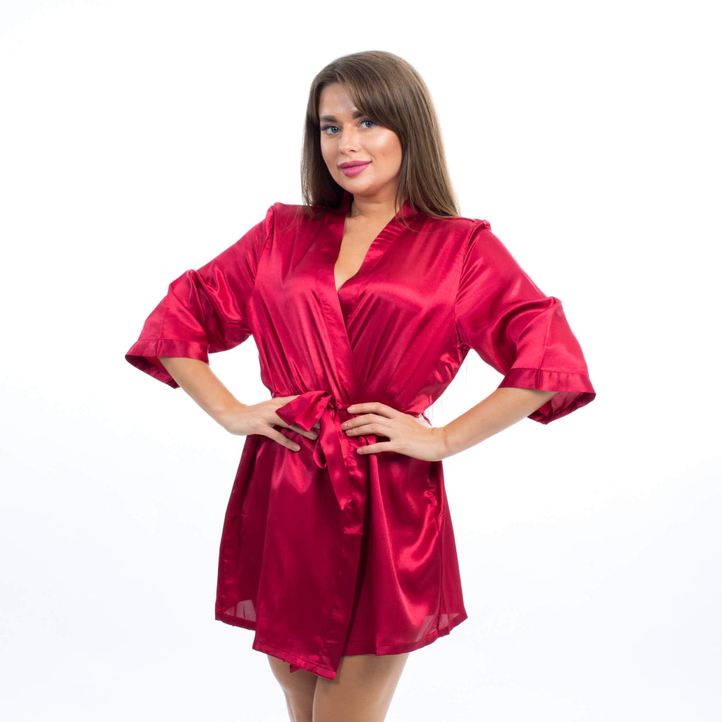 Hot Pink Satin Customized Bridesmaid Robes - Bridesmaid's World